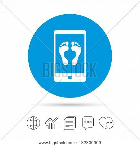 Selfie legs sign icon. Self feet photo on smartphone symbol. Copy files, chat speech bubble and chart web icons. Vector