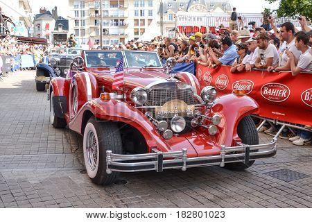 LE MANS FRANCE - JUNE 13 2014:Parade of pilots racing.Presentation of Excalibur car in Le Mans France.