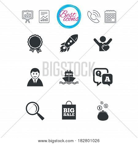 Presentation, report and calendar signs. Online shopping, e-commerce and business icons. Startup, award and customers like signs. Cash money, shipment and sale symbols. Classic simple flat web icons