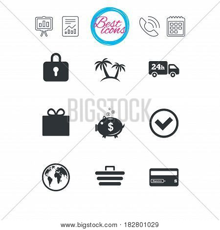 Presentation, report and calendar signs. Online shopping, e-commerce and business icons. Credit card, gift box and protection signs. Piggy bank, delivery and tick symbols. Vector