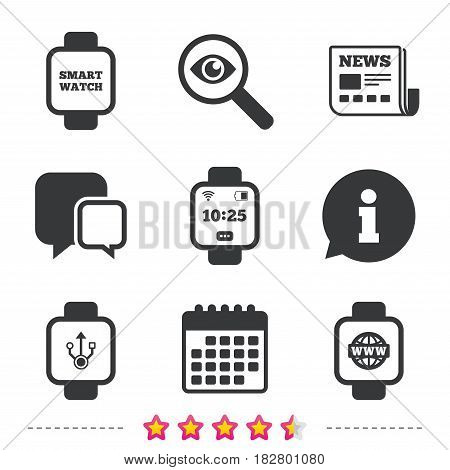 Smart watch icons. Wrist digital time watch symbols. USB data, Globe internet and wi-fi signs. Newspaper, information and calendar icons. Investigate magnifier, chat symbol. Vector