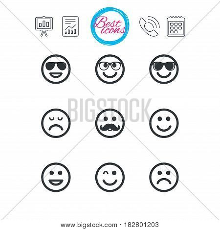 Presentation, report and calendar signs. Smile icons. Happy, sad and wink faces signs. Sunglasses, mustache and laughing lol smiley symbols. Classic simple flat web icons. Vector