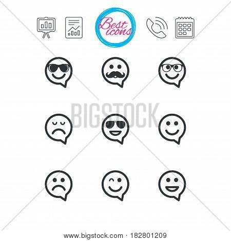 Presentation, report and calendar signs. Smile speech bubbles icons. Happy, sad and wink faces signs. Sunglasses, mustache and laughing lol smiley symbols. Classic simple flat web icons. Vector