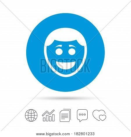 Smile face sign icon. Happy smiley with hairstyle chat symbol. Copy files, chat speech bubble and chart web icons. Vector