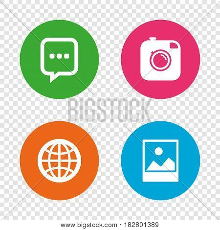 Social media icons. Chat speech bubble and world globe symbols. Hipster photo camera sign. Landscape photo frame. Round buttons on transparent background. Vector