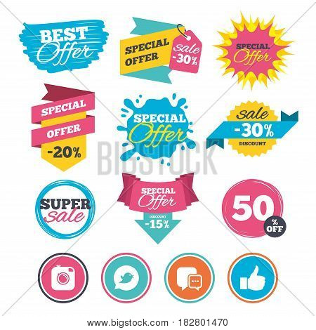 Sale banners, online web shopping. Hipster photo camera icon. Like and Chat speech bubble sign. Bird symbol. Website badges. Best offer. Vector