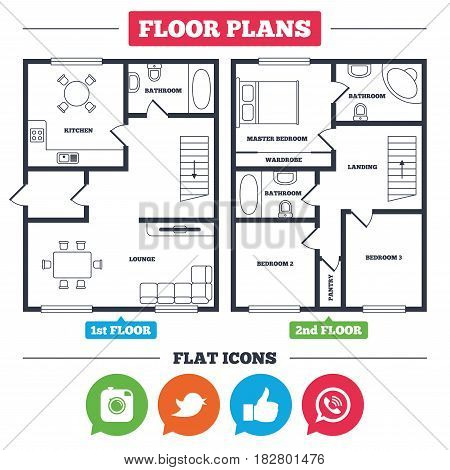 Architecture plan with furniture. House floor plan. Hipster photo camera icon. Like and Call speech bubble sign. Bird symbol. Social media icons. Kitchen, lounge and bathroom. Vector