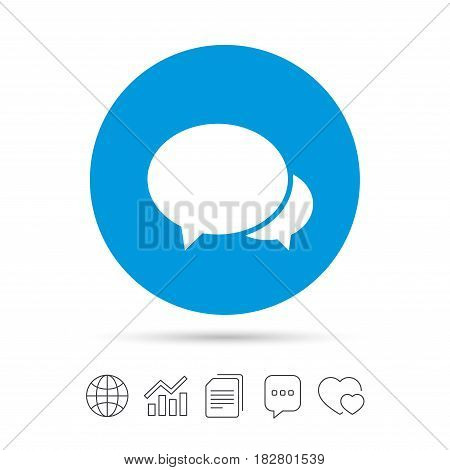 Speech bubbles icon. Chat or blogging sign. Communication symbol. Copy files, chat speech bubble and chart web icons. Vector
