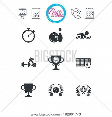 Presentation, report and calendar signs. Sport games, fitness icons. Football, tennis and volleyball signs. Swimming, timer and bowling symbols. Classic simple flat web icons. Vector