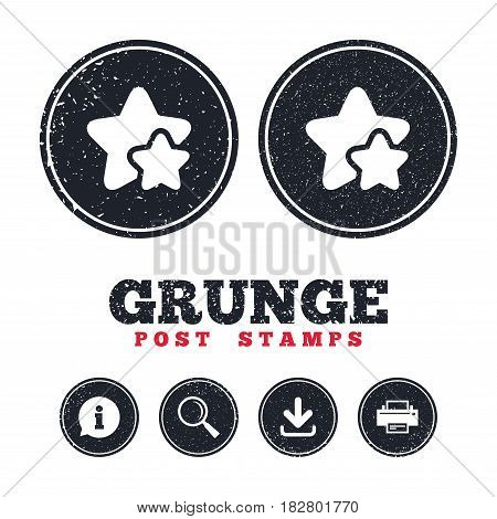 Grunge post stamps. Star icon. Favorite sign. Best rated symbol. Information, download and printer signs. Aged texture web buttons. Vector