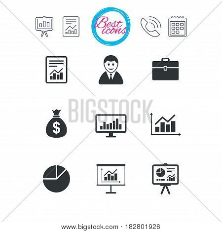 Presentation, report and calendar signs. Statistics, accounting icons. Charts, presentation and pie chart signs. Analysis, report and business case symbols. Classic simple flat web icons. Vector