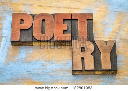 poet and poetry word abstract- text in vintage  letterpress wood type printing blocks