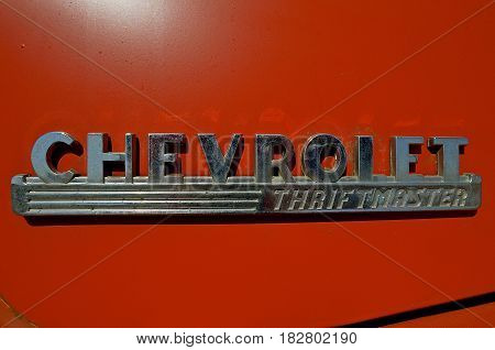 MOORHEAD, MINNESOTA, April 21, 2017: The old  logo is from a 40's located on a pickup hood is a Chevrolet, colloquially referred to as Chevy and formally the Chevrolet Division of General Motors Company, is an American automobile division of the American