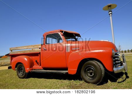 MOORHEAD, MINNESOTA, April 21, 2017: The old  40's pickup is a Chevrolet, colloquially referred to as Chevy and formally the Chevrolet Division of General Motors Company, is an American automobile division of the American manufacturer General Motors found