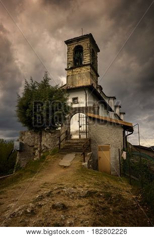 Church on Monte Isola on Iseo Lake Italy