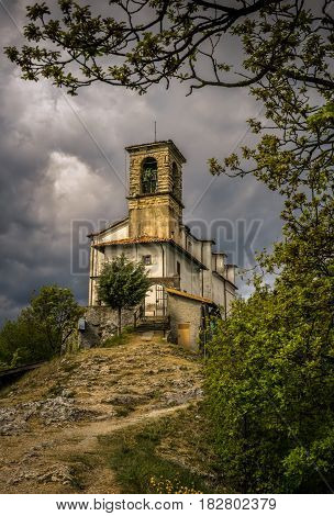 Church on summit of Monte Isola on Iseo Lake Italy