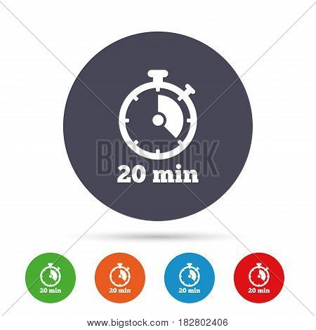 Timer sign icon. 20 minutes stopwatch symbol. Round colourful buttons with flat icons. Vector