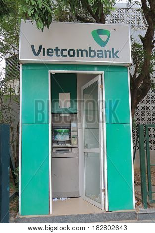 HANOI VIETNAM - NOVEMBER 24, 2016: Vietcombank ATM. Joint Stock Commercial Bank for Foreign Trade of Vietnam known as Vietcombank was founded in 1963.