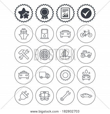 Report, check tick and award signs. Transport and services icons. Ship, car and public bus, taxi. Repair hammer and wrench key, wheel and cogwheel. Sailboat and bicycle. Best quality star symbol