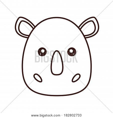 kawaii rhino face icon over white background. vector illustration