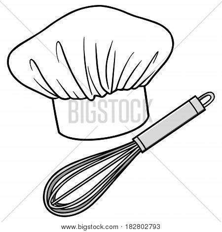 A vector illustration of a Chef Hat and a whisk.