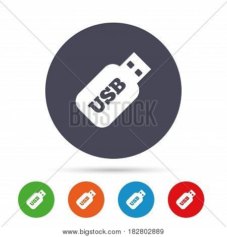 Usb Stick sign icon. Usb flash drive button. Round colourful buttons with flat icons. Vector