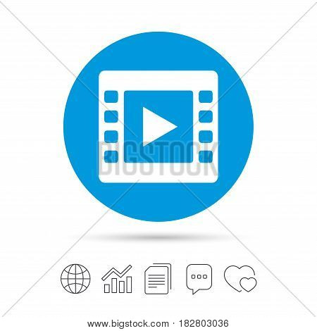 Video sign icon. Video frame symbol. Copy files, chat speech bubble and chart web icons. Vector