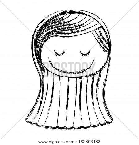 blurred silhouette caricature front face girl with long straight hair and eyes closed vector illustration