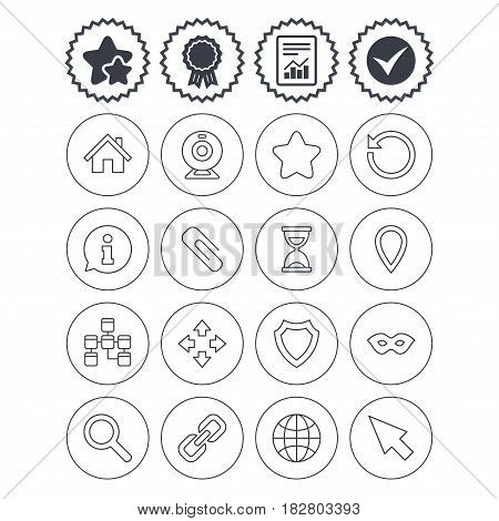 Report, check tick and award signs. Web elements icons. Paperclip, video camera and information speech bubble. Database, anonymous mask and secure shield. Best quality star symbol. Flat buttons