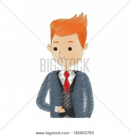 handsome red hair man man in suit icon image cute cartoon  vector illustration design