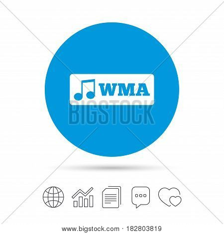 Wma music format sign icon. Musical symbol. Copy files, chat speech bubble and chart web icons. Vector