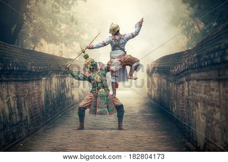 Khon is traditional dance drama art of Thai classical masked this performance is Ramayana epic