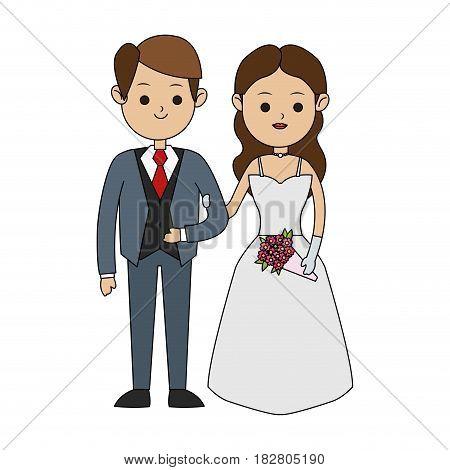 groom and bride icon image cute cartoon vector illustration design