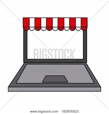 computer with online shopping or ecommerce icon image vector illustration design