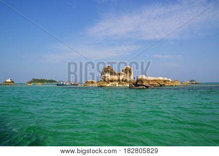Batu Berlayar Island, Belitung, Indonesia. Many tourist call it Sailing Rock Island.