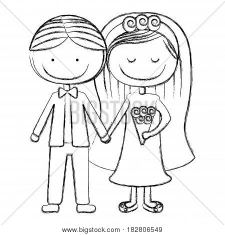 blurred silhouette caricature couple in wedding suit with short hair vector illustration