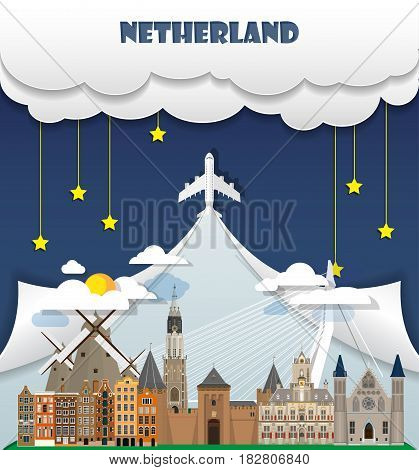 Netherland Travel Background Landmark Global Travel And Journey Infographic Vector Design Template.