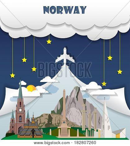 Norway Travel Background Landmark Global Travel And Journey Infographic Vector Design Template. Illu