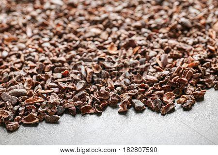 Aromatic cocoa nibs, closeup