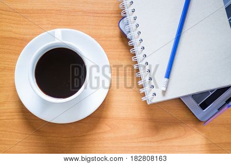 Hot Cup Of Coffee On Working Table stock photo