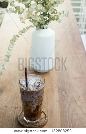 Micha Coffee On Wooden Table stock photo