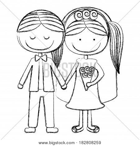 blurred silhouette caricature groom with eyes closed and bride with pigtails vector illustration