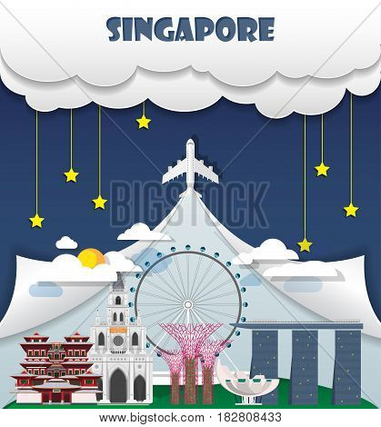 Singapore Travel Background Landmark Global Travel And Journey Infographic Vector Design Template. I