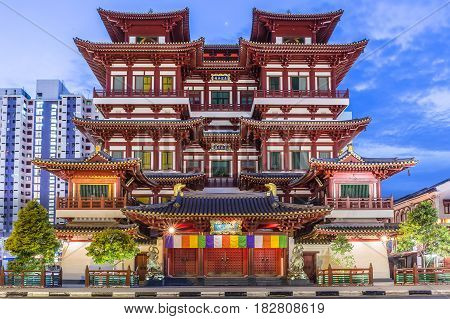 Buddha tooth relic is famous temple in China Town Singapore. It is landmark for traveler.