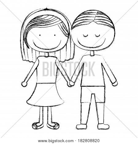 blurred silhouette caricature couple in suit informal with taken hands vector illustration