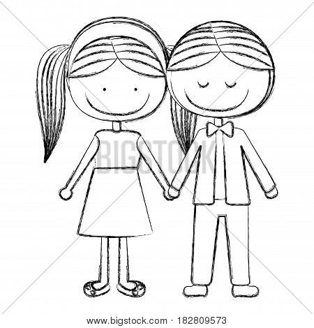 blurred silhouette caricature boy with formal suit and girl pigtails hairstyle with taken hands vector illustration