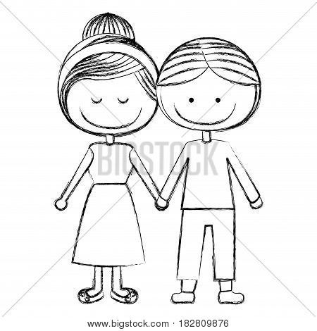blurred silhouette caricature man with informal suit and woman collected hairstyle with taken hands vector illustration