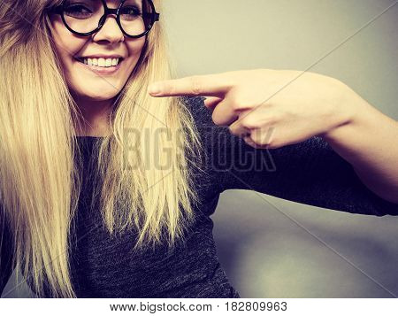 Closeup Woman Happy Face With Eyeglasses