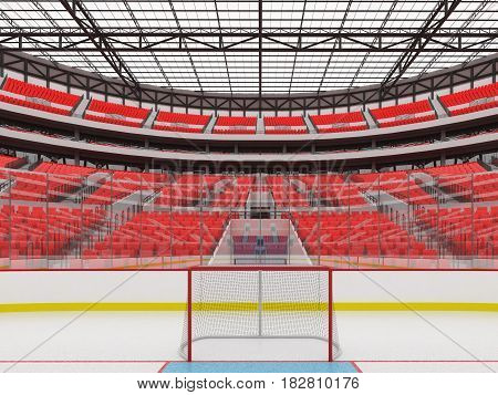 Beautiful Sports Arena For Ice Hockey With Red Seats  Vip Boxes And Floodlights For Fifty Thousand F