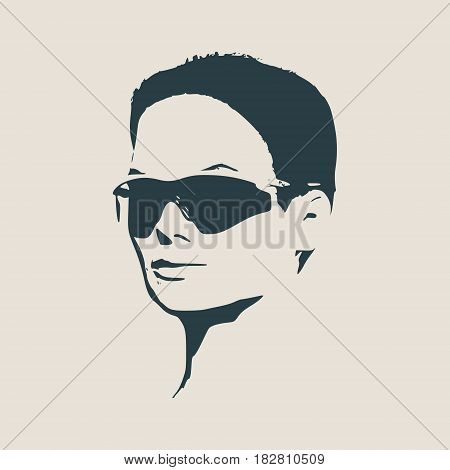 Portrait of beautiful woman in black sunglasses. Short hair. Vector version. Half turn view